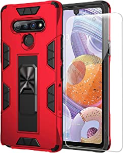 BaHaHoues Compatible with LG Stylo 6 Case Phone Case with Screen Protector Dual Layer Soft Flexible TPU Hard Shell Military Grade Full-Body Rugged Kickstand Car Mount Protective Cover Cases (Red)