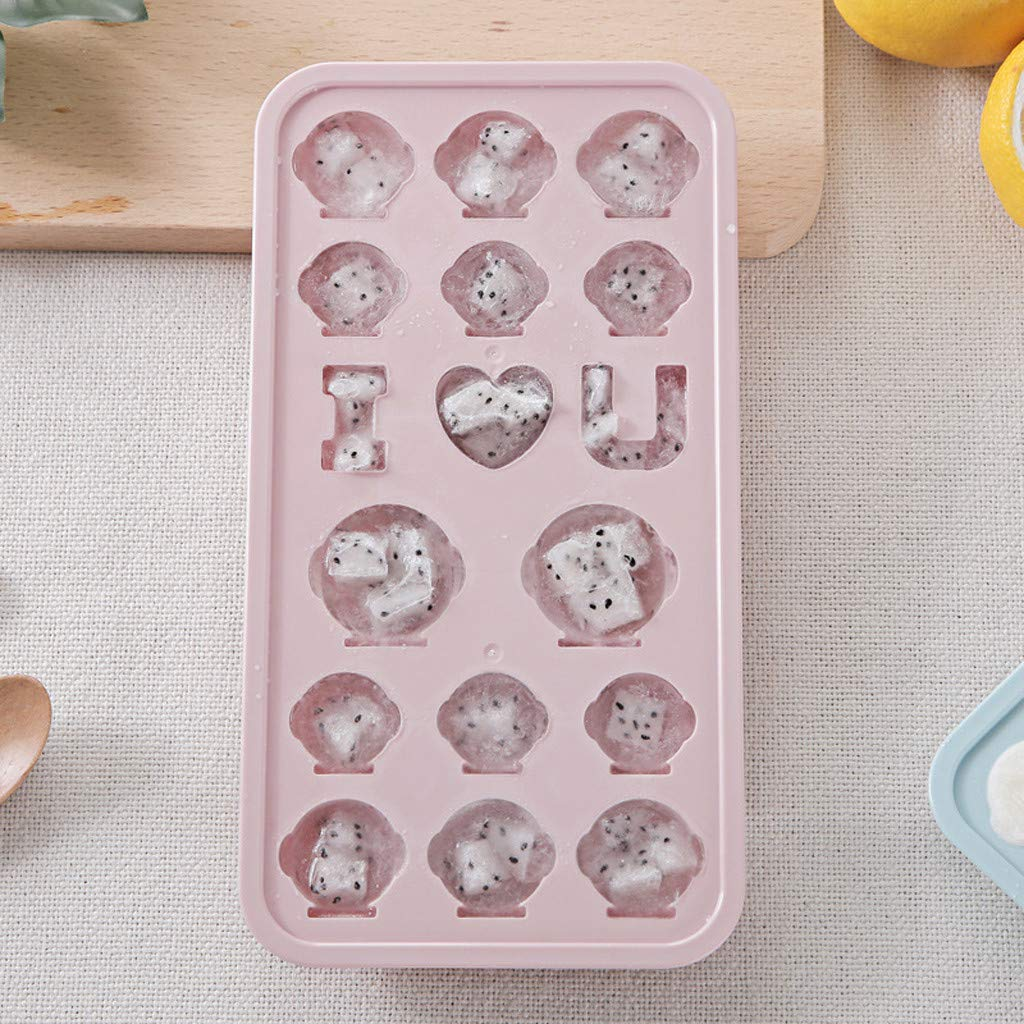 Samoii Grids Ice Mold DIY Small Ice Cube Tray with Lid Cartoon Animals Design Jelly Chocolate Mold Ice Cream Bar Mould Hot Green