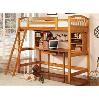 Amazon Com Coaster Bunk Bed And Workstation In Warm Brown