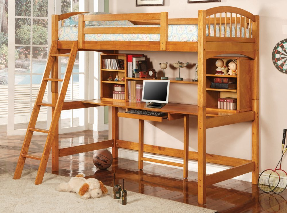 Amazon.com: Coaster Bunk Bed And Workstation In Warm Brown Finish: Kitchen  U0026 Dining