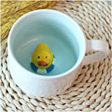 3D Cute Cartoon Miniature Animal Figurine Ceramics Coffee Cup - Baby Animal Inside, Best Office Cup & Birthday Gift (Duck)