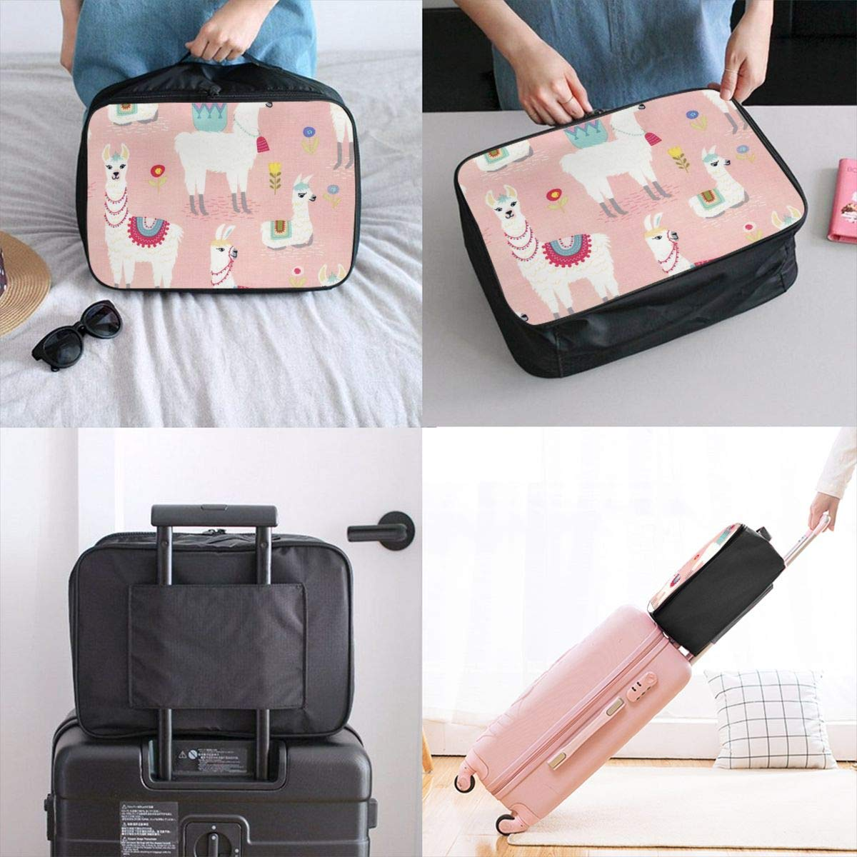Cartoon Floral Llama In Pink Travel Lightweight Waterproof Foldable Storage Portable Luggage Duffle Tote Bag Large Capacity In Trolley Handle Bags 6x11x15 Inch
