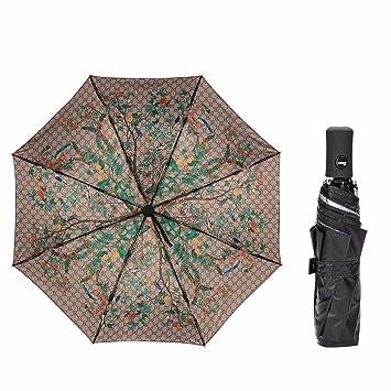Paraguas - Automatic Umbrella Hembra Negro Pegamento Uv Sunscreen Sombrilla Plegable Doble Diosa De Setenta Por