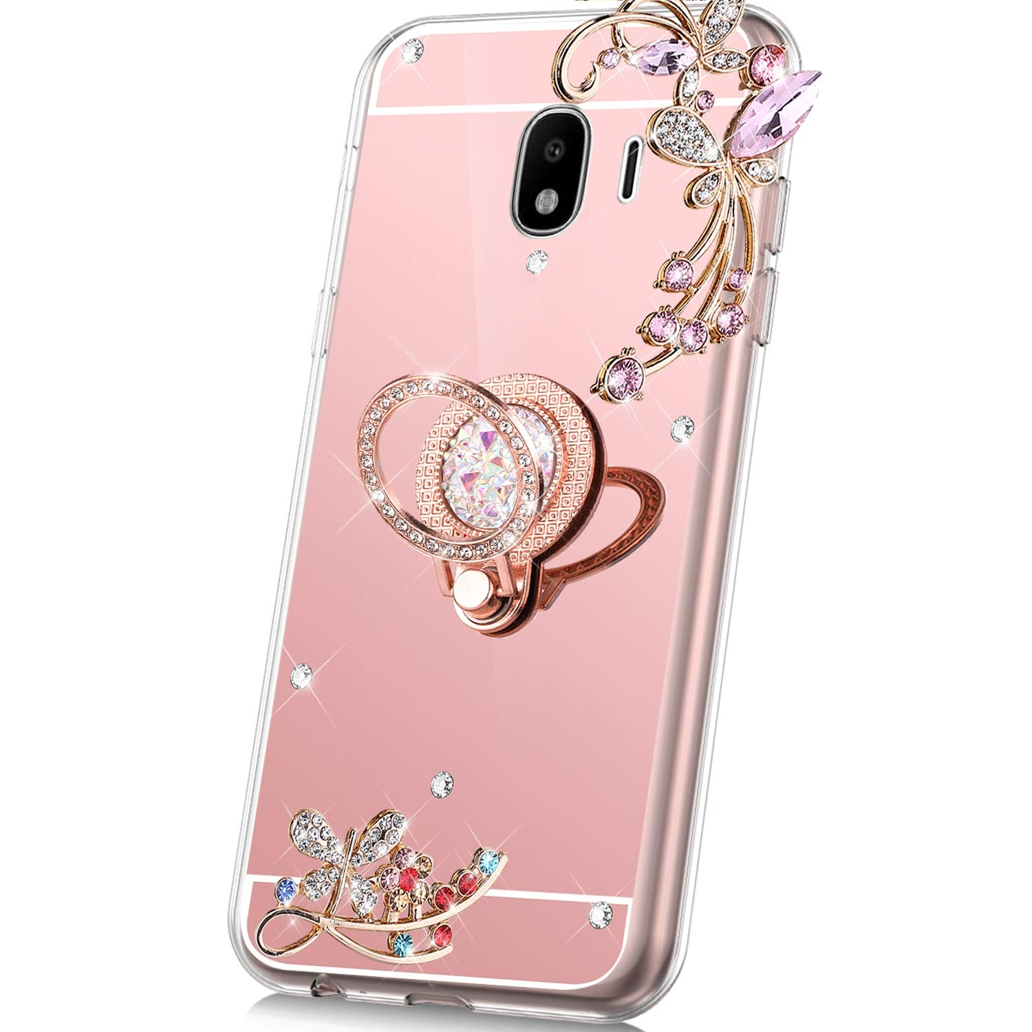 Case for Samsung Galaxy J4 2018 Mirror Case,Bling Glitter Flowers Sparkle Rhinestone Mirror Back TPU Silicone Case Cover with Ring Kickstand Diamond Crystal Case for Galaxy J4 2018,Rose Gold by PHEZEN