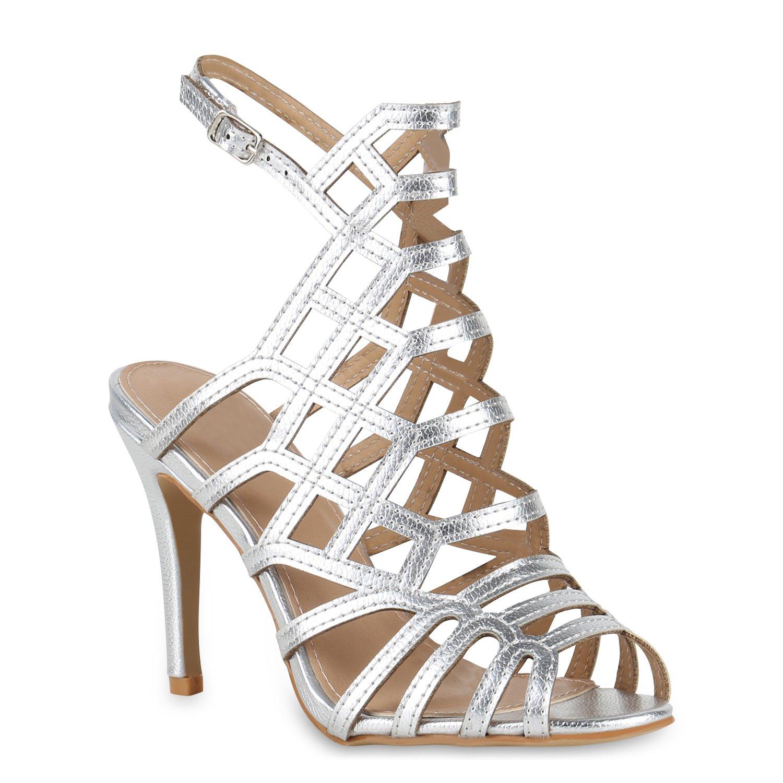 Stiefelparadies Damen Sandaletten High Heels mit Pfennigabsatz Strass Nieten Flandell Silber Riemchen Schnalle