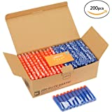 Looyat 200 Pieces Nerf Bullets Compatible Top Quality for Nerf N-strike Blaster Elite Series with Practical Storage Box Made of Solid Cardboard with Storage Hole for Nerf Darts(Blue)