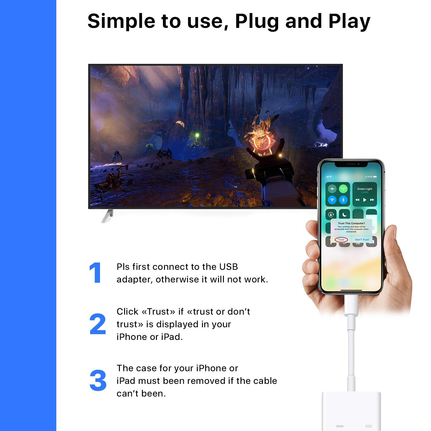 HDMI Adapter Converter New Edition 2 in 1 Plug and Play Digital AV Connector Compatible for iPhone X,iPhone 8//7//Plus iPad iPod