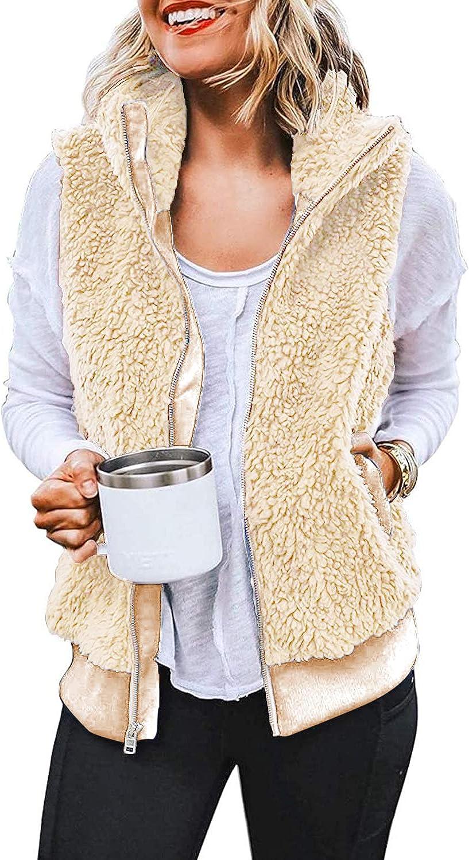 Yanekop Womens Casual Sherpa Fuzzy Fleece Lightweight Warm Zipper Vest Jacket with Pockets