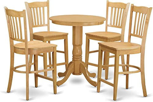 EDGR5-OAK-W 5 Pcpub Table'set - Small Kitchen Table and 4 counter height Dining chair.