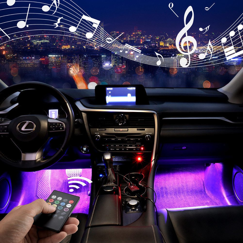 Jawat Car Interior Lights, Multicolor Music Car LED Strip Lights Under Dash Lighting Kit with Wireless Remote Control and Sound Active Function (4pcs,8 colors,48LEDs,USB Port)