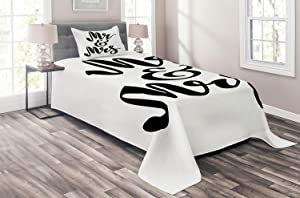 Ambesonne Mr Mrs Coverlet, Hand Drawn Brush Pen Lettering Design Curved and Swirled Lines Monochrome Words, 2 Piece Decorative Quilted Bedspread Set with 1 Pillow Sham, Twin Size, Black Print