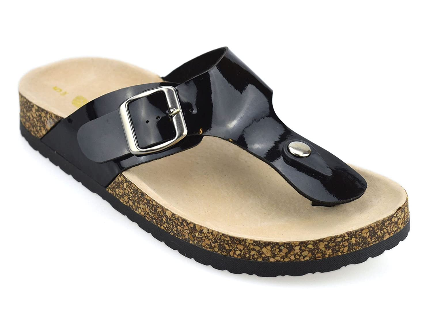 a93d64b522d0 Womens Leather Insole Flat Toe Post Flip Flops Summer Mules Footbed Sandals  Shoes  Amazon.co.uk  Shoes   Bags
