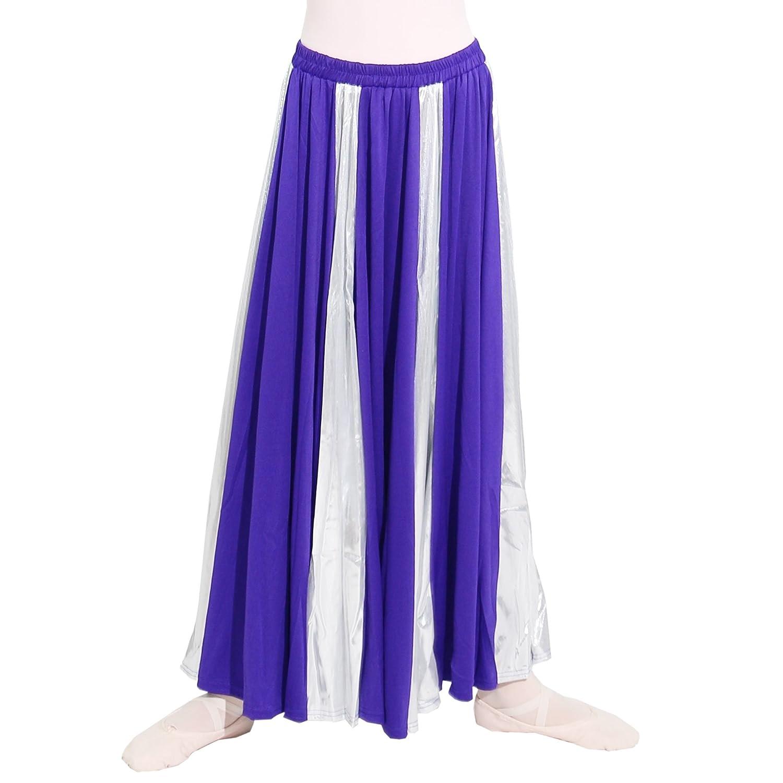 Danzcue Girls Praise Dance Long Circle Skirt Deep Purple-Silver L//XL