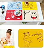 Inchant Silicone Placemats, Kids Bibies Toddlers Placemats, Non-Slip Waterproof, Very Thin Flexible Silicone, Yellow Giraffe