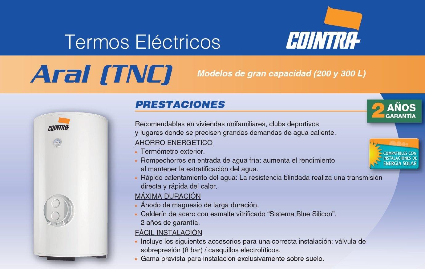 Cointra Godesia 14305 - Termo, 200 Nv vertical, 200 l, color blanco: Amazon.es: Hogar
