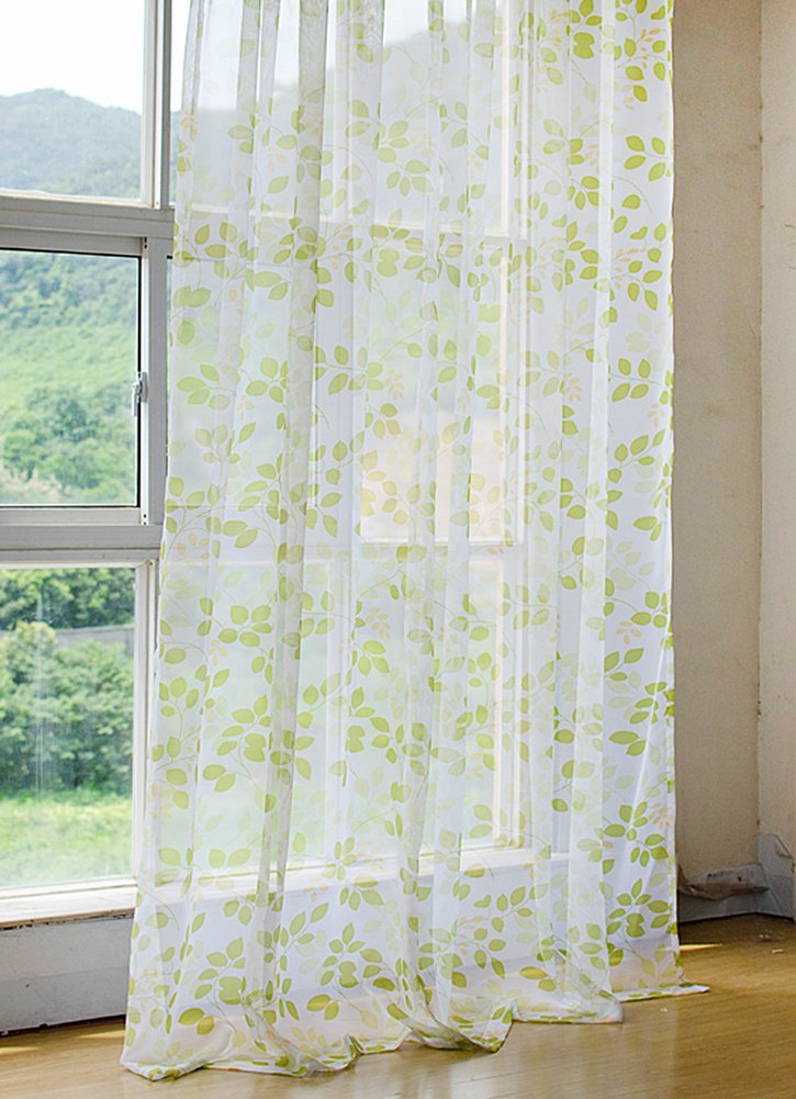 Aside Bside Twig Leaves Printed Voile Panels Home Treatment Rod Pockets Sheer Curtains Pure Style For Child Room Kitchen and Houseroom (1 Panel, W 52 x L 63 inch, Green)
