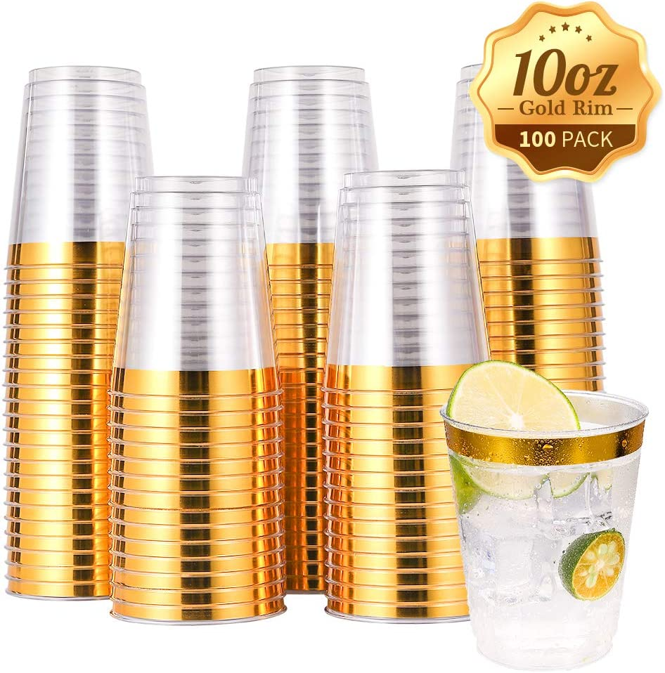 100 PACK Gold Plastic Cups,10 Oz Clear Plastic Cups Tumblers, Elegant Gold Rimmed Plastic Cups, Disposable Cups With Gold Rim Perfect For Wedding,Thanksgiving Day, Christmas Party Cups