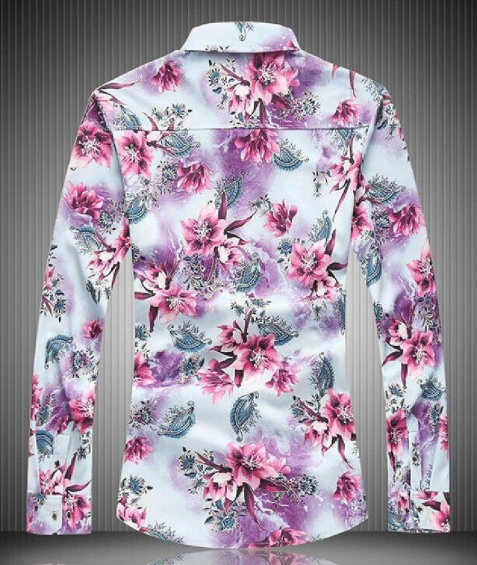 Heless Men Lapel Print Long Sleeve Regular Fit Casual Button Up Dress Shirt