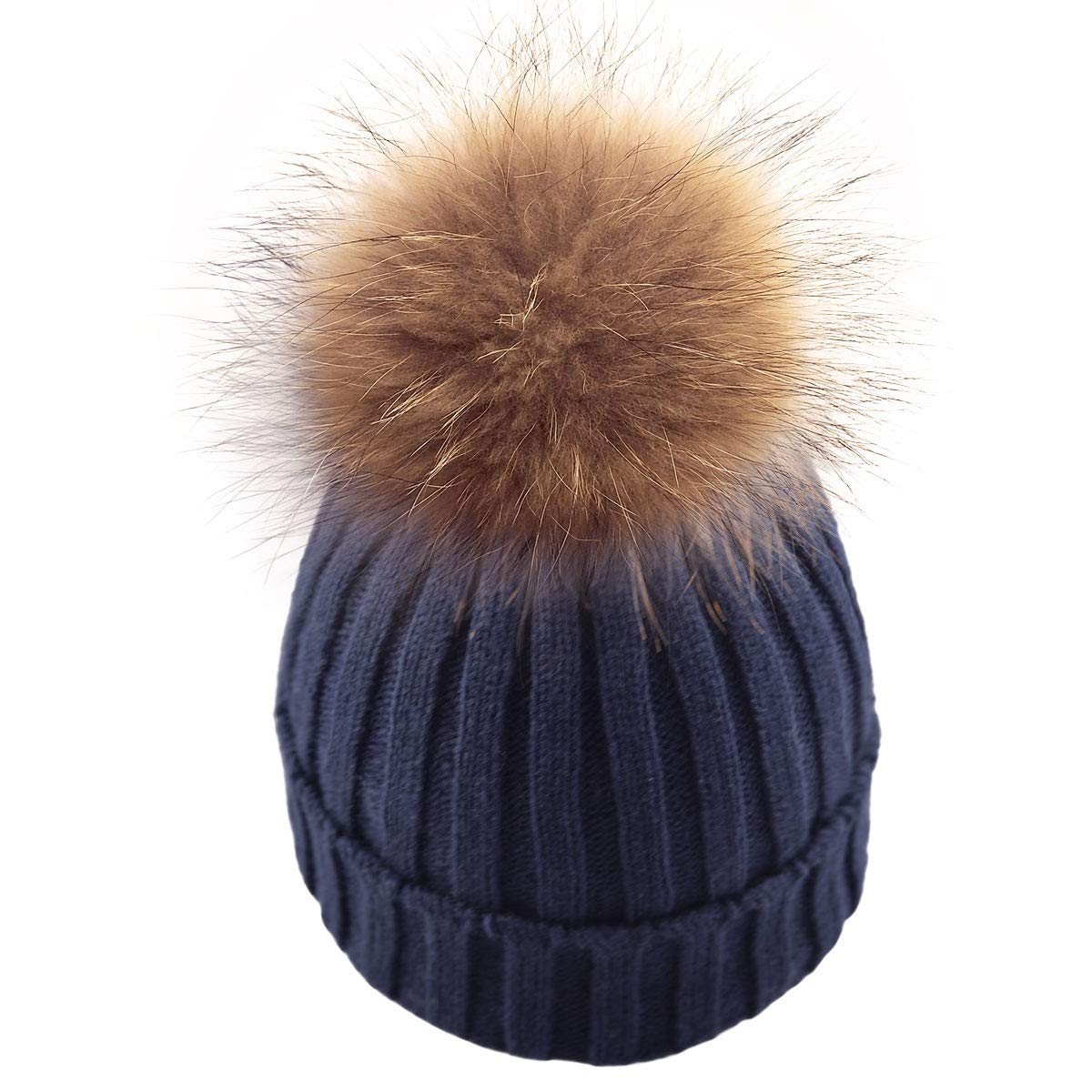 Winter Soft Stretch Knitted Warm Beanie hat for Women Real Fur Raccoon pom pom Hat Ski Cap