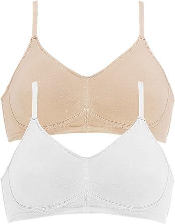 Naturana - Pack de 2 Sujetadores de algodón orgánico para mujer 5586 Piel Blanco EU 80 / ES 95 C: Amazon.es: Ropa y accesorios