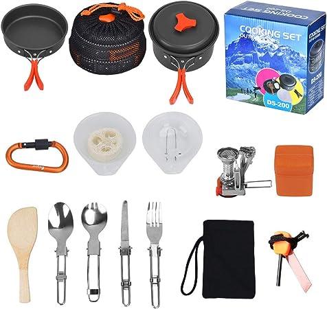 Outtybrave 17Pcs Kit de Acampar Utensilios,portátil de Cocina de Camping Deal para el Campamento itinerante Equipo de Senderismo al Aire y Picnic
