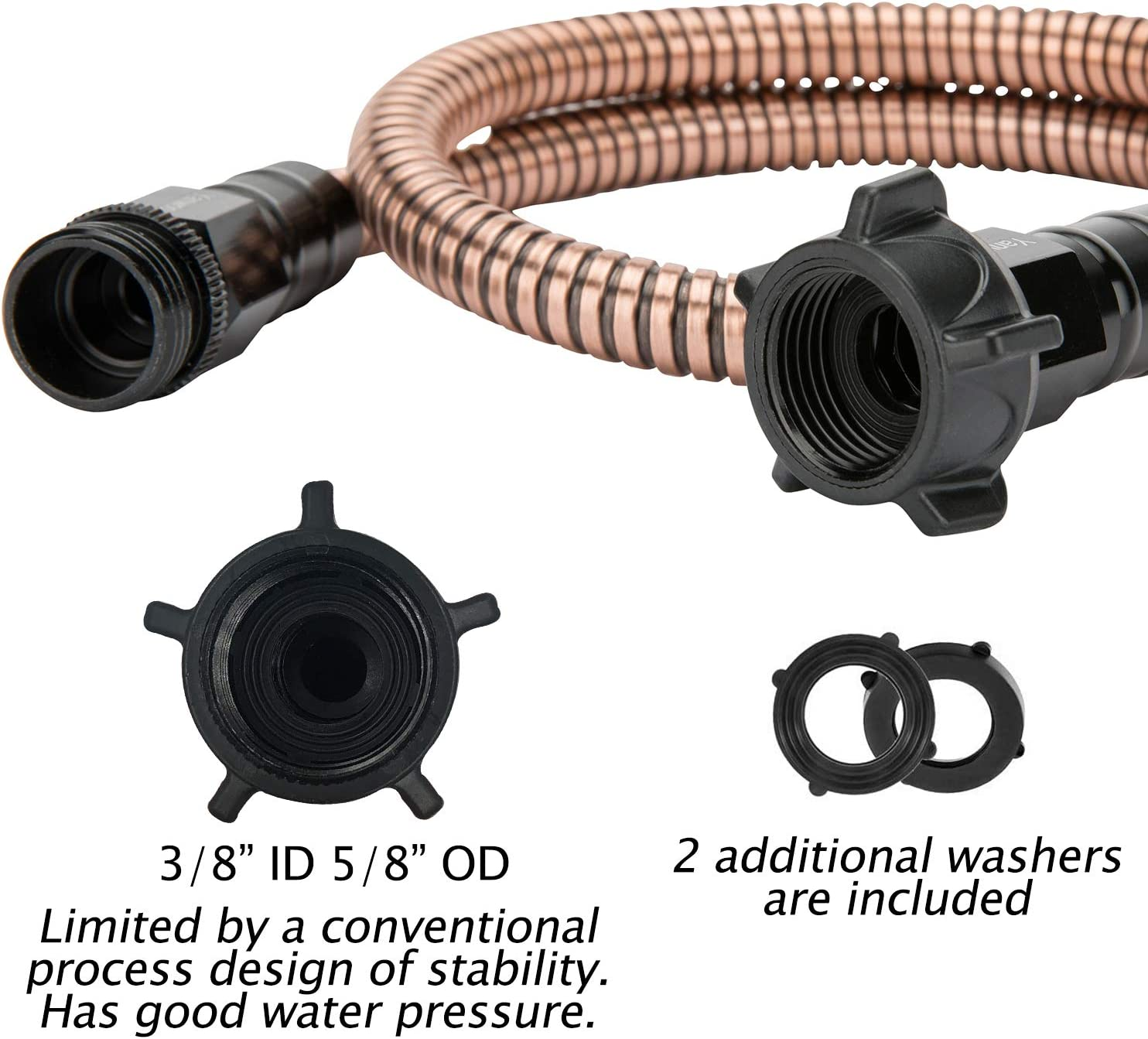 Flexible Bathroom Hose Portable Outdoor Hose Yanwoo 304 Stainless Steel Bronze Color 1.5 Feet Short Garden Hose