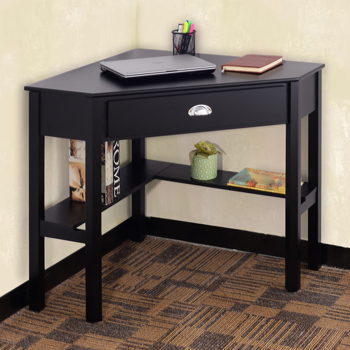 Amazon com  Tangkula Corner Computer Desk with Drawer Wood Laptop Writing  Desk Home Office Furniture  Black  Kitchen   DiningAmazon com  Tangkula Corner Computer Desk with Drawer Wood Laptop  . Everything Office Furniture Corner Computer Desk. Home Design Ideas
