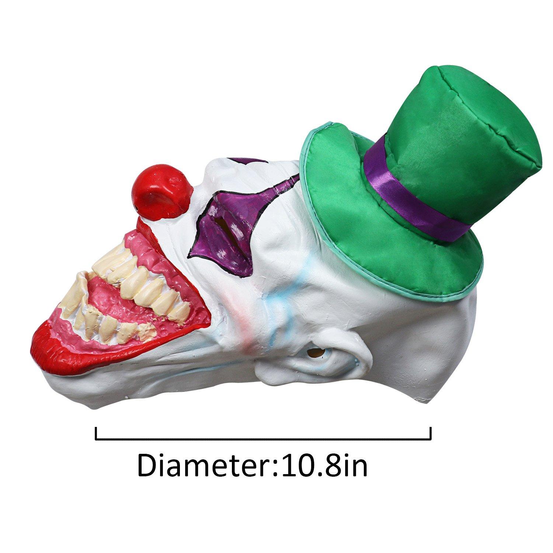 Halloween Costume Latex Mask Hat Clown (Green Hat Clown)