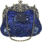 Women Lady Vintage Beaded Satin Kiss Lock Wedding Party Clutch Purse Cocktail Evening Shoulder Handbag