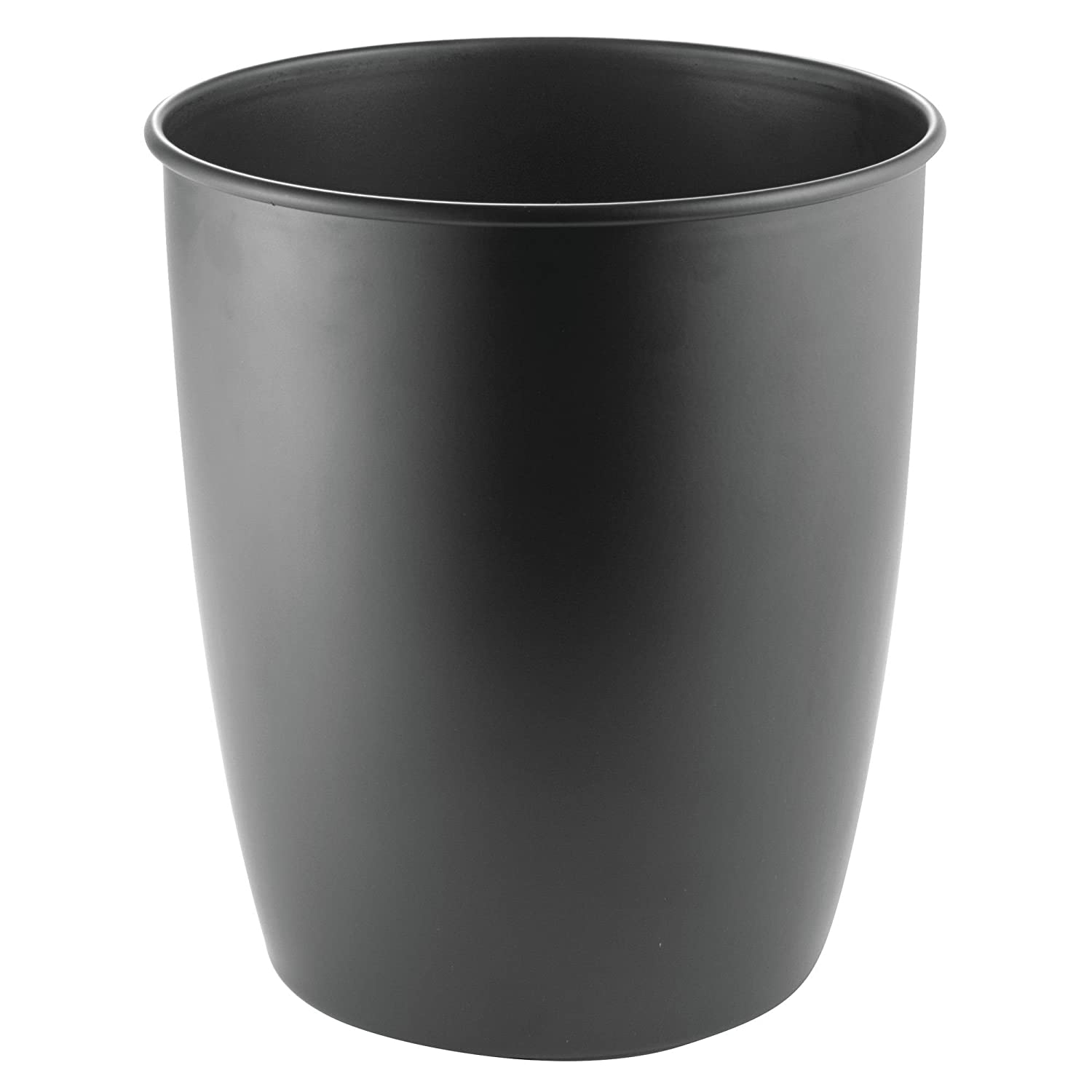 mDesign Round Metal Small Trash Can Wastebasket, Garbage Container Bin for Bathrooms, Powder Rooms, Kitchens, Home Offices - Durable Steel - Matte Black