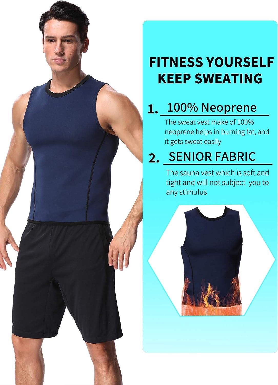 SLIMBELLE Men Sweat Sauna Suit with Zipper Neoprene Tank Top for Weight Loss Workout