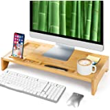 23 Inch Bamboo Monitor Stand Riser - Bamboo Desk Monitor Storage Organizer for Home and Office Computer Desk Laptop Printer T