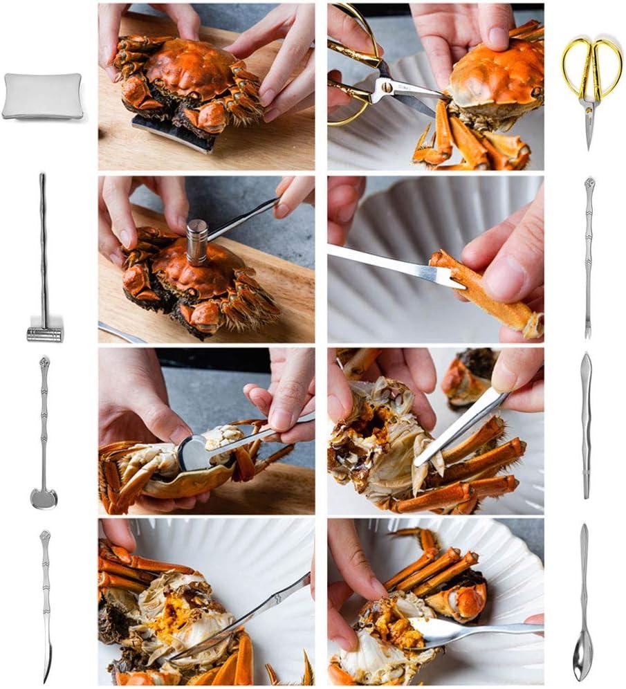 02 8 piezas de cuchillos para mariscos tijeras para mariscos juego de tenedores para galletas de cangrejo de acero inoxidable herramientas para manualidades con garra para viajes en casa