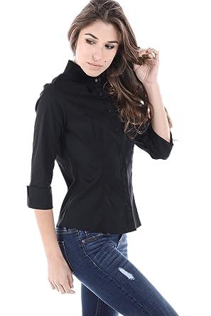 de2a609b Fashion Magazine Women's Button Down Shirts, Slim Fit (Short and 3/4 Sleeve