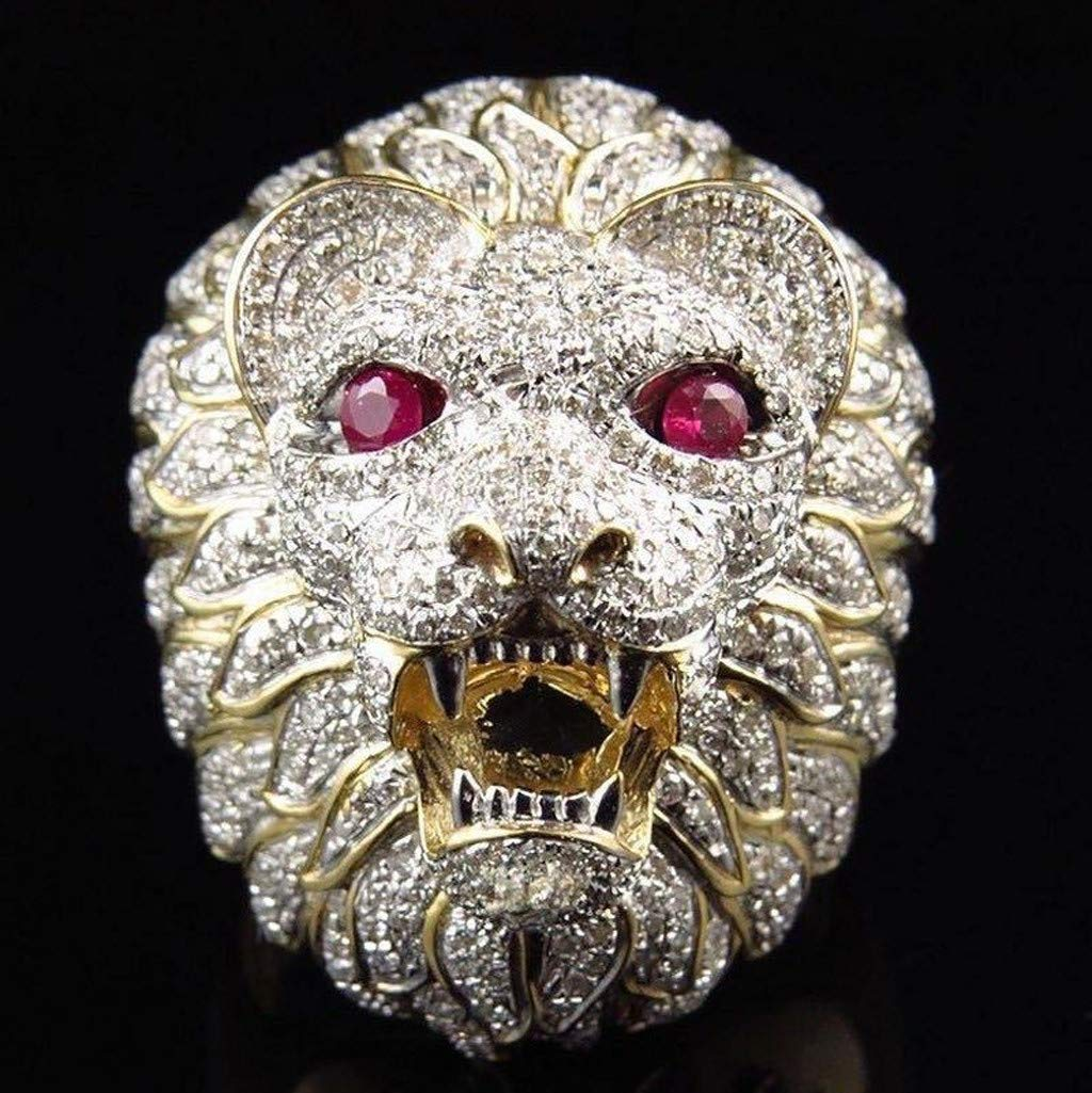 Gbell Men Fashion Punk Ring - Lion Head Gold Filled Natural Ruby Gemstone Diamond Ring for Men Boys Jewelry Gifts (8) by Gbell (Image #4)