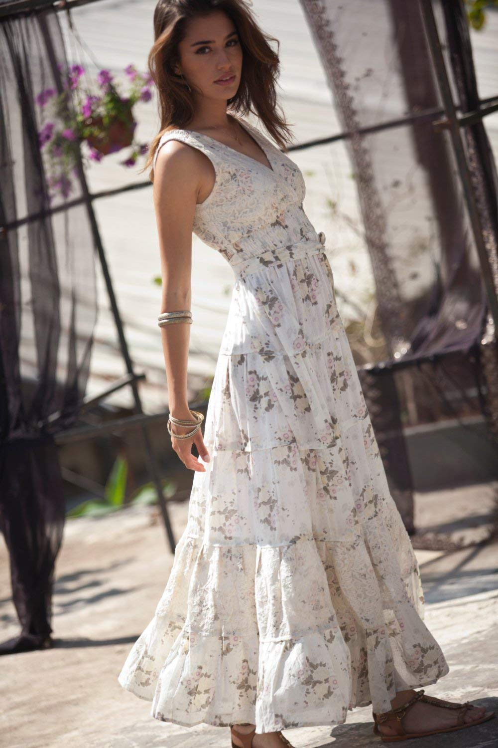 Cream Maxi Dress, Hippie Urban Evening & Day Summer Dress, Boho Unique Long Dress, Romantic Flower Cotton Maxi Dress, S - XL