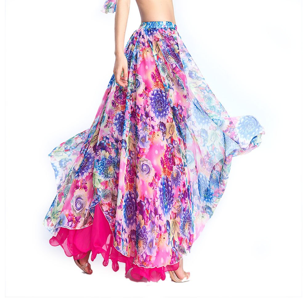 ROYAL SMEELA Belly Dance Costume for Women Chiffon Belly Dancing Skirt Bellydance Skirts Two Side Slit Belly Dancing Outfit Hot Pink by ROYAL SMEELA