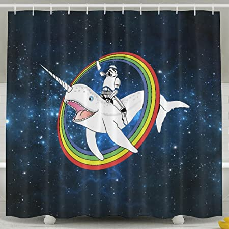 HUANGLING Narwhal Rainbow Stormtrooper Shower Curtain 60x72inch