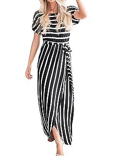 f6b81ab3d53 Acelitt Womens Short Sleeve Casual Loose Striped Slit Long Maxi Dress with  Belt