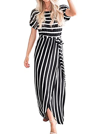 c43b673aea4 Lovezesent Women Short Sleeve Casual Stripe Front Slit Long Maxi Dress with  Belt at Amazon Women s Clothing store