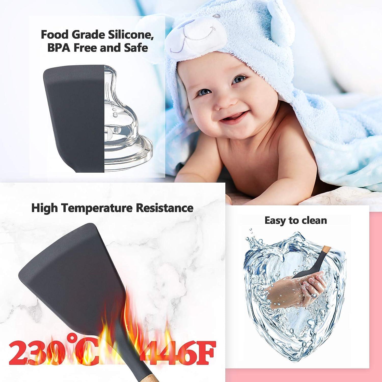 Juego de utensilios de cocina de silicona con soporte resistente al calor antiara/ñazos herramientas de color gris antiadherente sin BPA herramientas de cocina para hornear accesorios de cocina