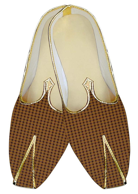 INMONARCH Hombres Gelb Hochzeit Schuhe Kontrollen MJ016093 40.5 EU
