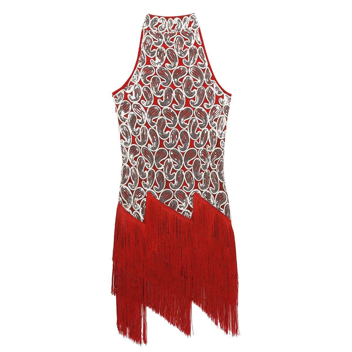 FEESHOW Latin Dance Dress Cha Cha Rhythm Ballroom Samba Rumba Tango Dress Sequins Fringe Dancewear