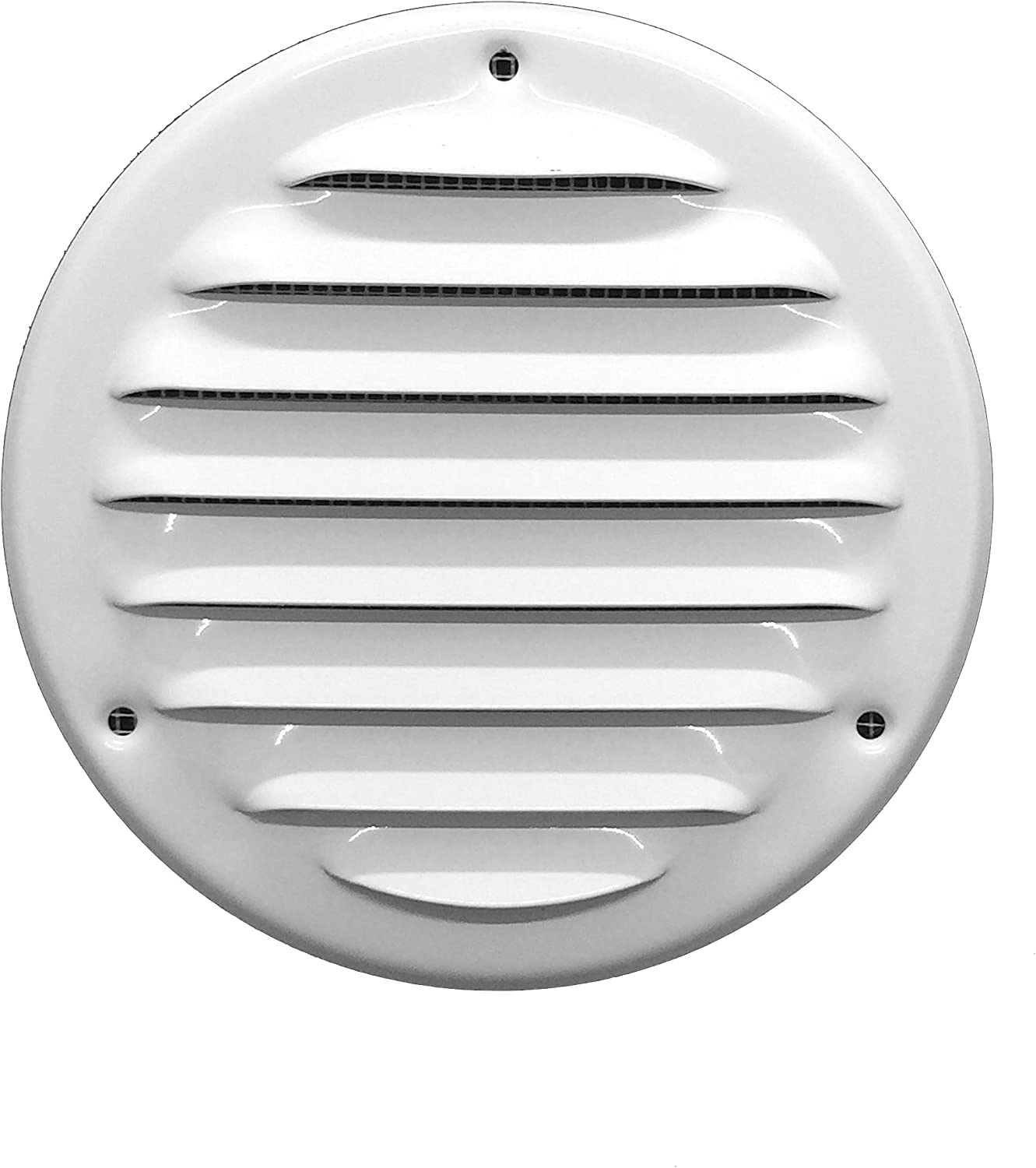 Vent Cover - Round Soffit Vent - Air Vent Louver - Grille Cover - Built-in Fly Screen Mesh - HVAC Ventilation (8'' Inch, Metal - White)