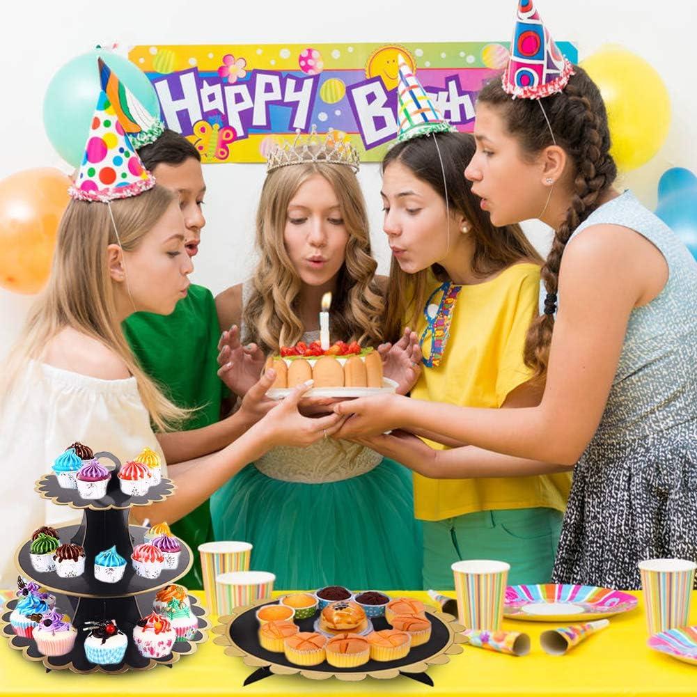 Baby Show JINLE 3 Pezzi Alzata per Cupcake in Cartone Nero,Torre per Dessert a 3 Piani e 1Tier Cake Stand per Festa di Compleanno Matrimonio