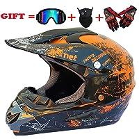 SK-LBB Sicherheit Erwachsene Kinder Off-Road Motorradhelm, MX-Motorrad D.O.T Zertifizierte Helm ATV Roller Road Racing Sport/Geschenkbrillen Handschuhe Maske (Orange, M)