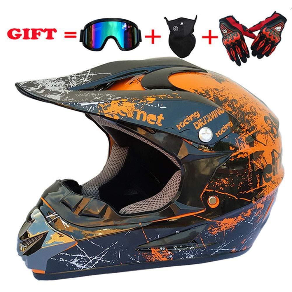 MX-Motorrad D.O.T Zertifizierte Helm ATV Roller Road Racing Sport//Geschenkbrillen Handschuhe Maske Orange, L SK-LBB Sicherheit Erwachsene Kinder Off-Road Motorradhelm