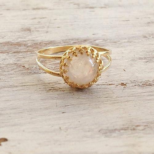 6d2ea2a9f5f9da Amazon.com: Custom Moonstone Ring Gemstone Ring Rainbow Moonstone ...