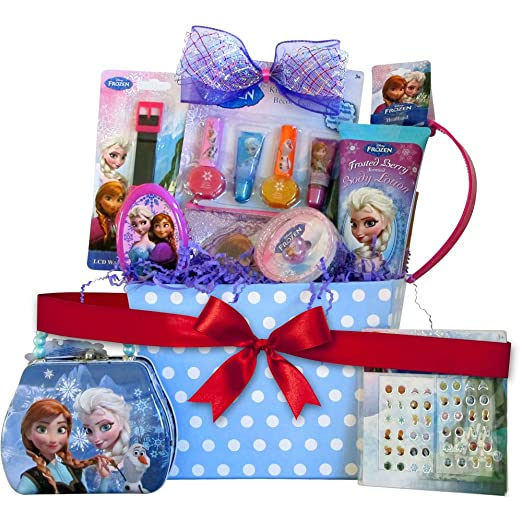 amazoncom disney frozen christmas gift basket for girls perfect birthday gift basket for girls special get well gift baskets for girls 4 to 8 years old - Valentines Day Gift Basket Ideas