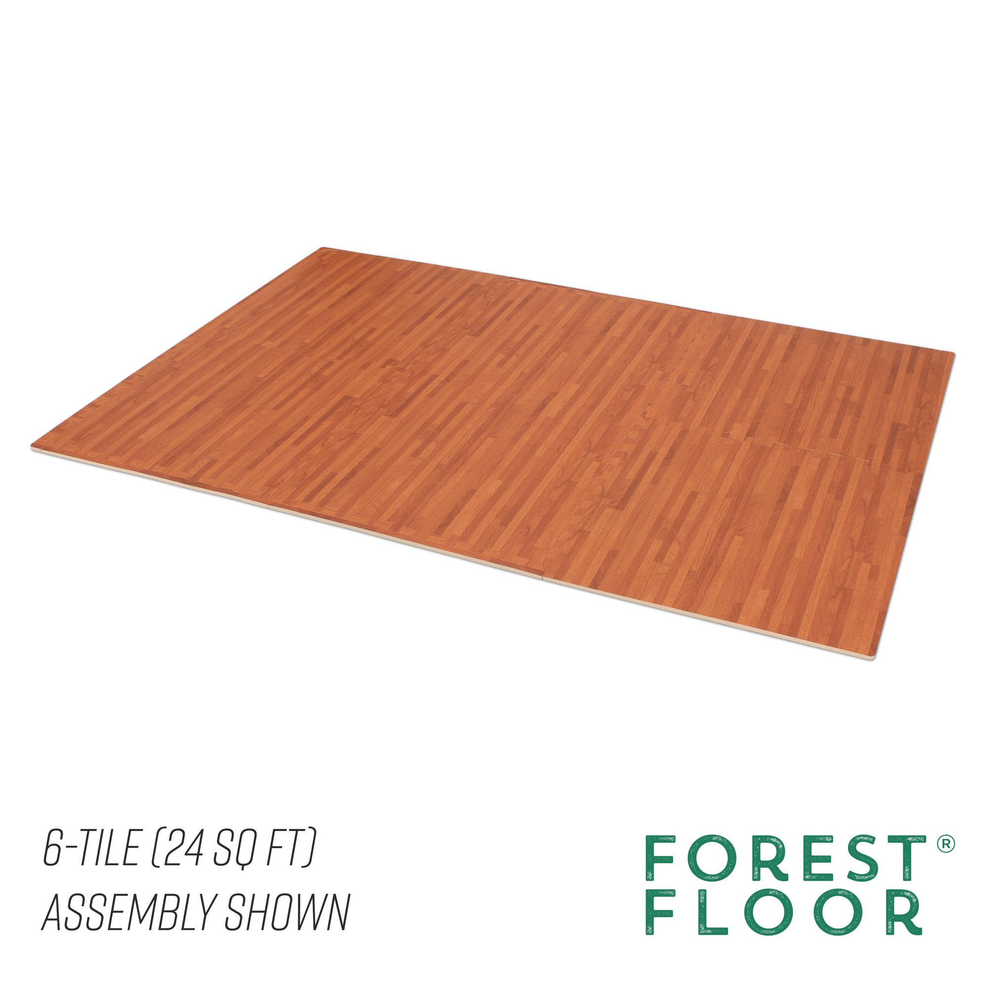 Forest Floor 3/8'' Thick Printed Wood Grain Interlocking Foam Floor Mats, 16 Sq Ft (4 Tiles), Mahogany by Forest Floor (Image #5)